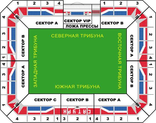 Схема стадиона Арена Сатурн.
